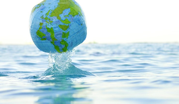 Earth in water climate change image